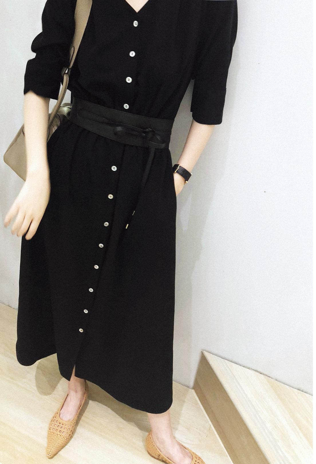 PKH.HK mùa hè đặc biệt sản phẩm mới được thu hút để thiết kế khí Chao Chao V cổ thắt lưng đầm