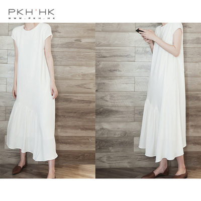 PKH.HK mùa hè sản phẩm mới không bị cướp hoặc không quyến rũ thiết kế đơn giản khâu hem đầm đồng bằng Sản phẩm HOT