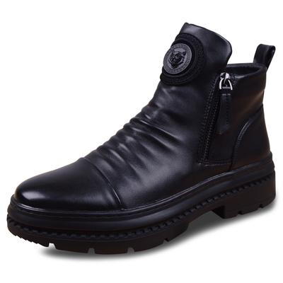 高帮皮鞋男士韩版潮流冬季马丁靴男短靴子英伦真皮厚底工装皮靴男