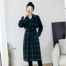实拍大码 女装2018新款双层风衣休闲外套中长款宽松复古格大衣