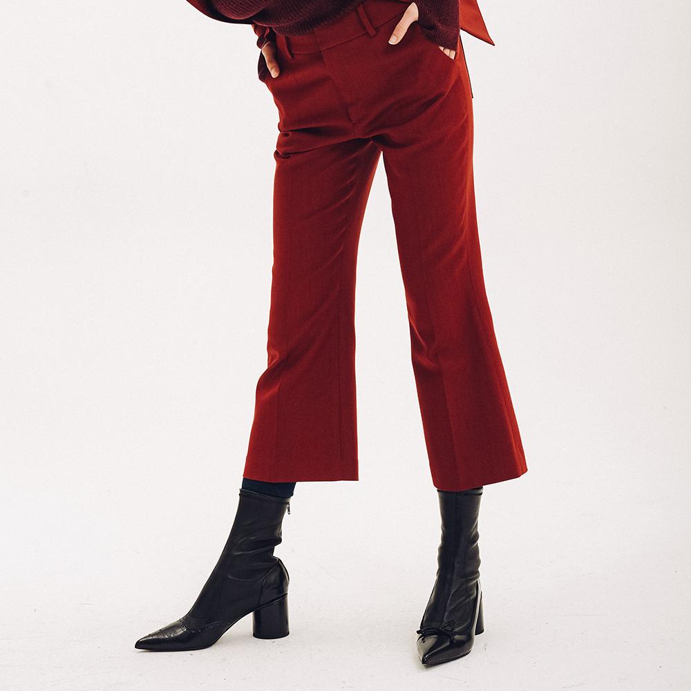 原创设计师品牌IMWHOIM女装18秋冬日本酒红色羊毛微喇七分靴裤