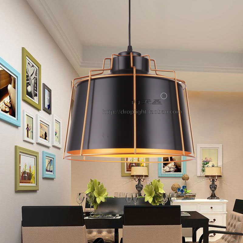 个性店铺奶茶店工业风吊灯北欧黑色服装店铺灯商用吊灯创意饭厅灯
