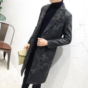 反季清仓 英伦时尚迷彩大衣 中长款呢大衣外套