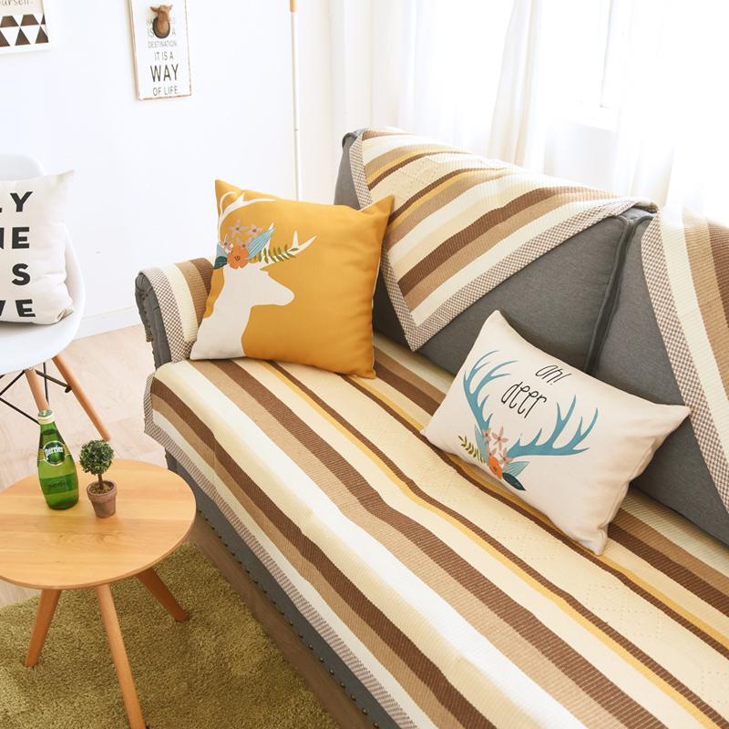布艺沙发垫四季通用 简约现代沙发坐垫欧式防滑沙发巾 咖白宽条