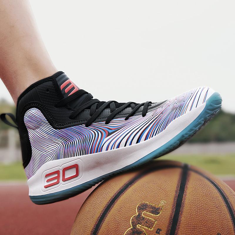 Mùa hè mới giày bóng rổ thở thể thao của nam giới giày chịu mài mòn non-slip giày bóng rổ giảm xóc thanh niên giày nam cao giúp