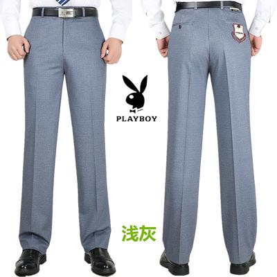 Playboy quần nam mùa hè người đàn ông mới của quần dài kinh doanh miễn phí ủi phù hợp với quần trung niên lỏng phù hợp với quần