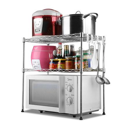厨房置物架双层厨房微波炉架子落地微波炉烤箱架收纳置物架