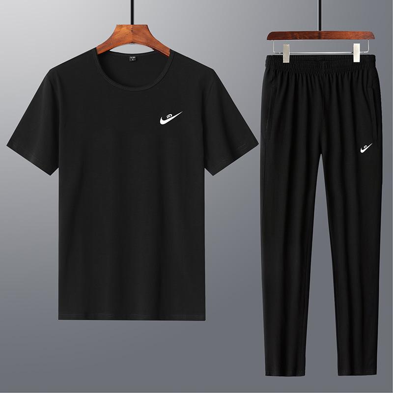 运动套装男长裤短袖t恤潮流夏天宽松休闲两件套夏季跑步健身衣服
