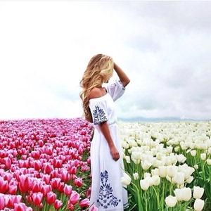 5590#Tularosa 氣質刺繡露肩系帶長連衣裙 2色
