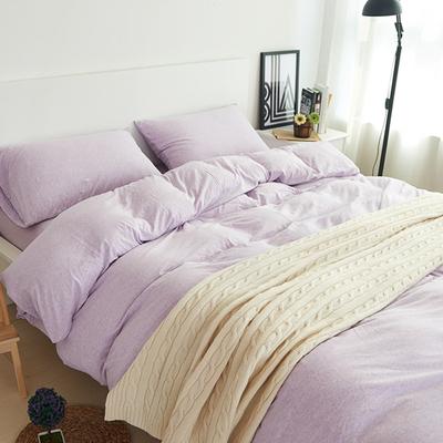 裸睡床品纯色针织棉天竺棉床笠式春秋全棉四件套纯棉三4件套1.8m