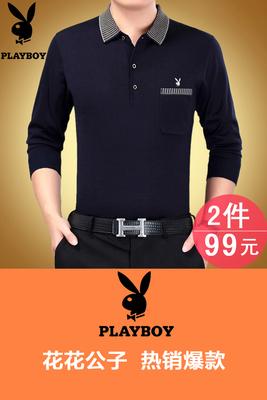 Mùa xuân trung niên của nam giới dài tay T-shirt bông ve áo người đàn ông trung niên của cha mỏng phần t-shirt daddy áo thun nam tay dài Áo phông dài