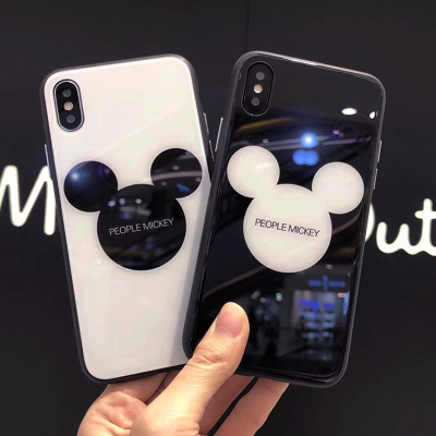 玻璃壳iPhone X/7/8plus手机壳苹果6/6s保护壳包边卡通壳钢化玻璃
