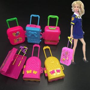 Dễ thương búp bê lớn vali vali hộp đồ chơi phụ kiện Barbie doll vali trường hợp xe đẩy đồ chơi