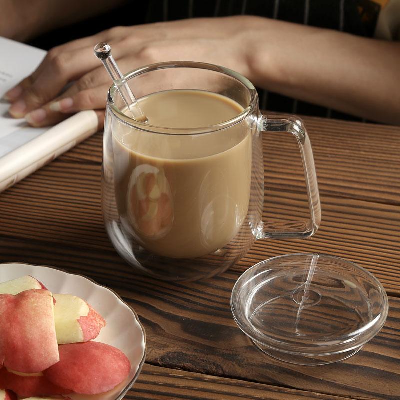 双层隔热玻璃杯女家用透明咖啡杯带把牛奶杯高硼硅办公杯带盖带勺