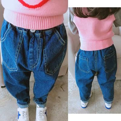 中小童舒适宝宝牛仔裤 男女童春秋季新款宽松儿童纯色裤子