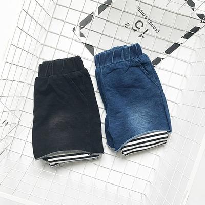 中小童假两件打底裤 春秋季时尚牛仔短裤条纹个性长裤潮