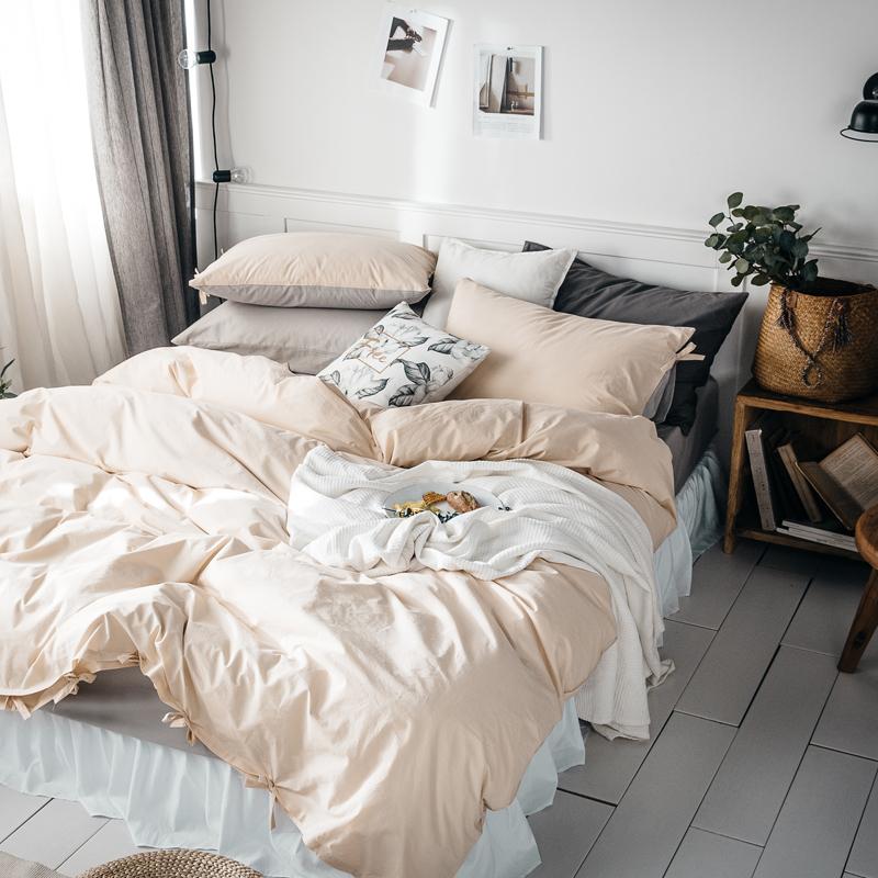 日式简约全棉60支水洗棉四件套素色系带被套床单纯棉裸睡床上用品