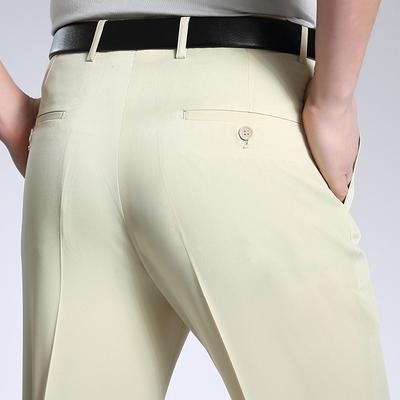 Quần nam trung niên kinh doanh ăn mặc quần miễn phí hot quần lụa phần mỏng giản dị thẳng phù hợp với quần men red Suit phù hợp