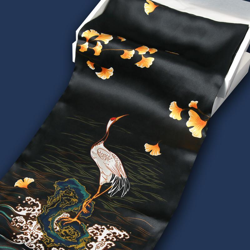 贝勒府原创设计中国风新款仙鹤印花桑蚕丝真丝围巾男女同款潮