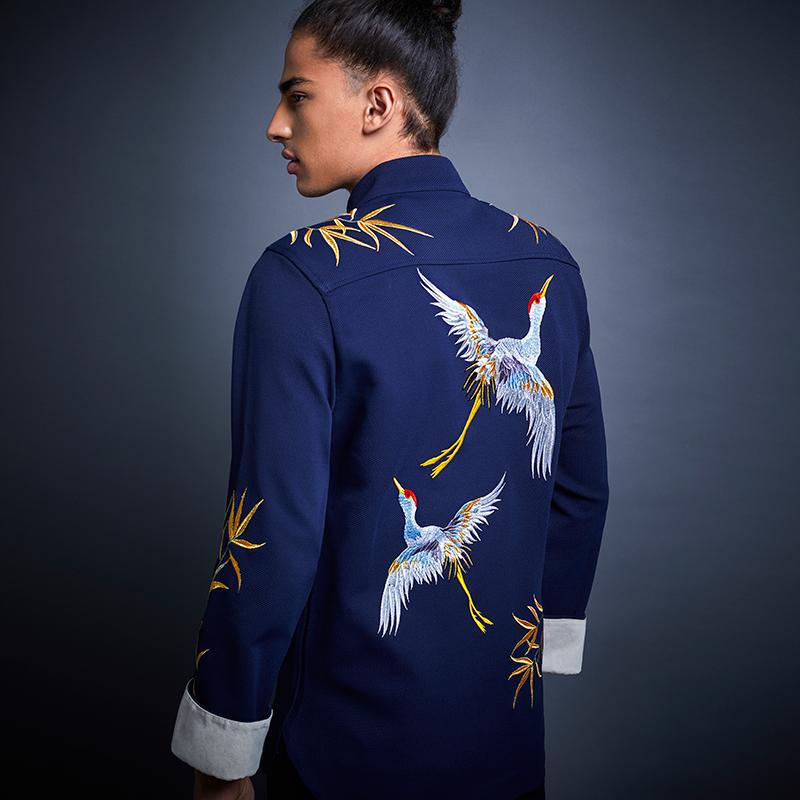 贝勒府中国风新款金竹仙鹤刺绣立领衬衫中式外套男士长袖衬衣男