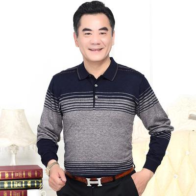 Mùa xuân và mùa hè 2017 mới trung niên nam trung niên của nam giới dài tay t-shirt cha áo sơ mi mỏng phần t-shirt áo polo Áo phông dài