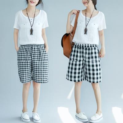夏季新款宽松大码显瘦格子短裤女高腰五分裤学生休闲裤子