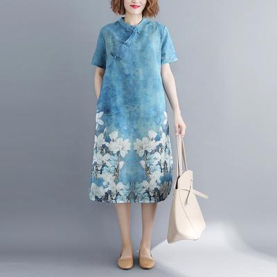 夏新款中国风女装盘扣立领旗袍民族风大码短袖印花棉麻连衣裙