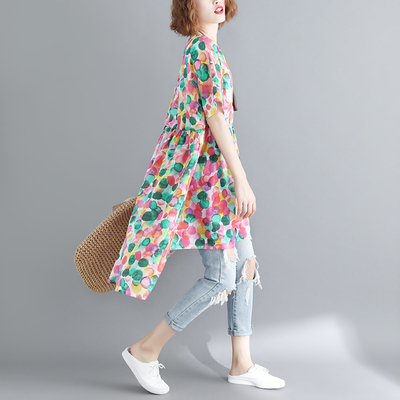200斤大码女装胖mm夏季文艺前短后长彩色圆点印花连衣裙减龄显瘦