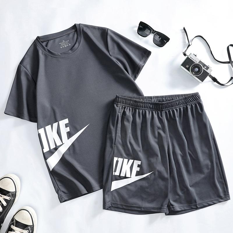 运动套装男速干篮球夏季薄款跑步健身房运动服装T恤足球短袖短裤