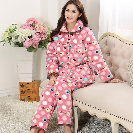棉衣女冬加厚夹棉睡衣三层加厚珊瑚绒套装女法兰绒加棉长袖2件套