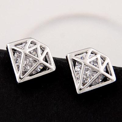 首饰礼物个性钻石形状锆石几何耳钉耳饰配饰宝石耳环新娘饰品