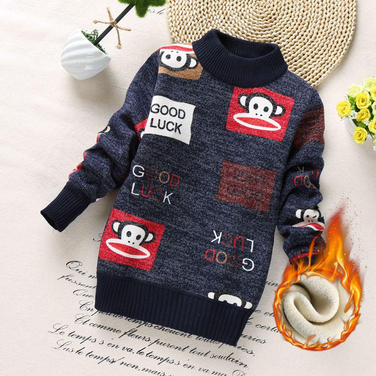 男童毛衣套头秋冬新款针织衫加厚加绒童装圆领