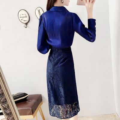 小香风套装秋冬新款时尚气质名媛衬衫连衣裙配蕾丝裙子两件套