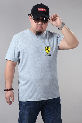 2018 mùa hè ngắn tay nam T-Shirt cotton cộng với phân bón XL vòng cổ fat man fat man nửa tay áo lỏng lòng từ bi áo tommy Áo phông ngắn