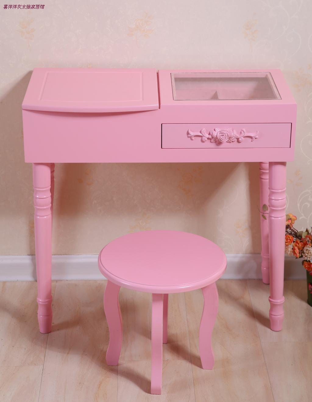 Dressing Table With Mirror And Stool: Minimalist Dressing Table Makeup Organizer Bedroom Dresser