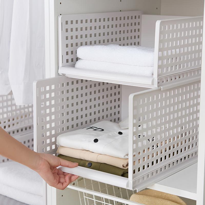 衣橱神器衣柜收纳架分层隔板抽屉式叠加衣服收纳筐塑料卧室置物架