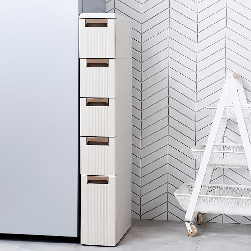 18CM厨房夹缝置物架冰箱边抽屉式收纳柜卫生间塑料缝隙收纳架窄架