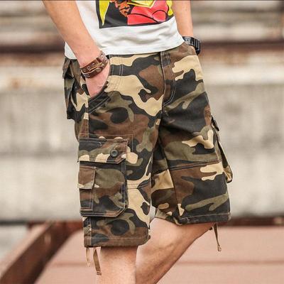 Năm điểm quần short nam lỏng kích thước lớn casual dụng cụ xu hướng thời trang ngụy trang bãi biển quần 7 quần đa túi ống túm Quần làm việc