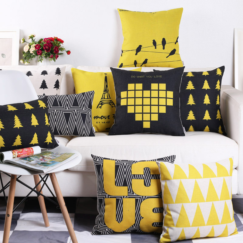 Bông và vải lanh gối thiết kế mô hình ban đầu phòng Bắc Âu dày sofa gối bông và vải lanh đệm thắt lưng gối hình trái tim màu đen