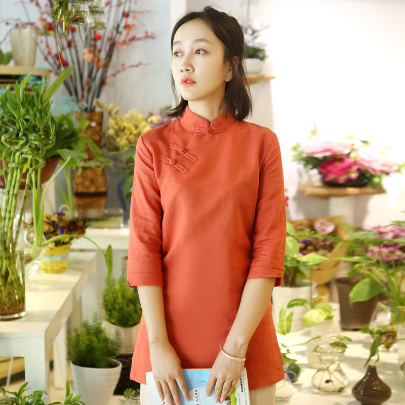 1571c6dab28 The new cotton and linen modified cheongsam top Tang suit tea clothing  female Chinese style collar