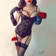 Sself có thể được đeo bên ngoài ren PU da thu thập ngực niềng răng xương cá garter sexy cám dỗ sexy corset