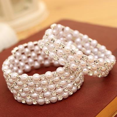 韩国时尚多层珍珠水钻宽手镯 满钻缠绕螺旋手链女饰品批 发