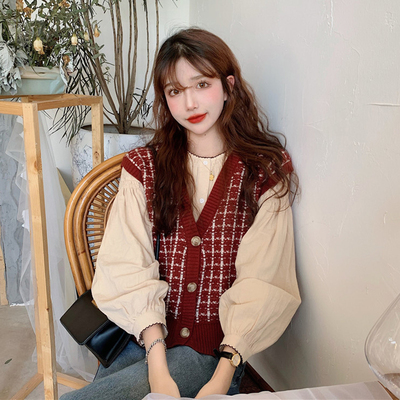 taobao agent Knitwear Spring and Autumn New Women's New 2021 Sweater Vest Vest Top Loose Outer Wear Winter Cardigan Jacket