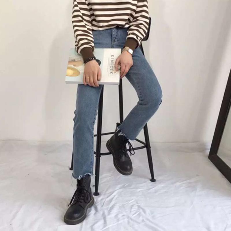 秋季新款高腰宽松直筒裤浅色牛仔九分裤cec裤子女学生