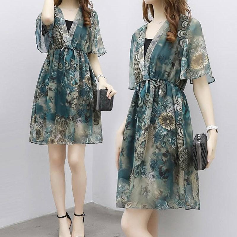 夏装新款遮肚子显瘦连衣裙两件套