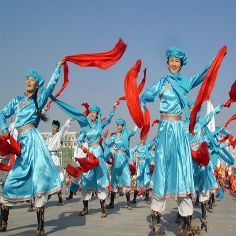 蒙古族安代舞红绸长绸安代舞红绸方巾舞蹈手娟手帕秧歌绸带