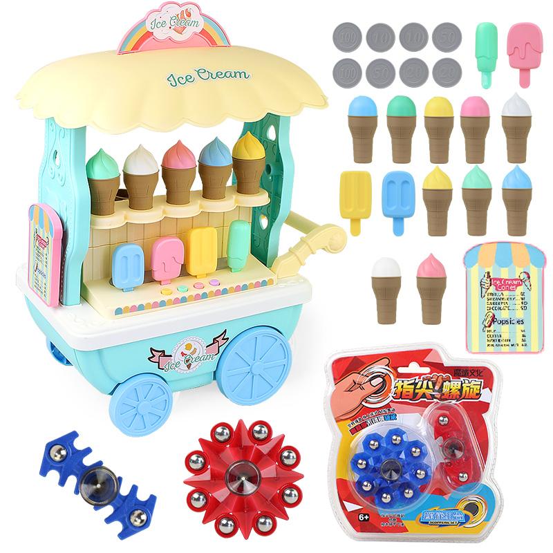 雪糕车儿童过家家玩具仿真冰淇淋车小手推车糖果车灯光音乐故事机