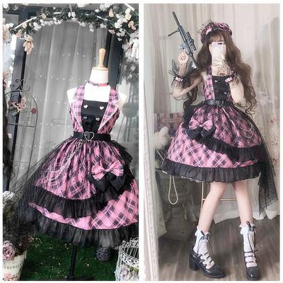 taobao agent Funny sauce original Lolita sweetheart sniper punk girl little idol black powder cool song suit jsk suspender skirt