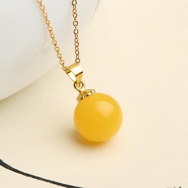 圆珠锁骨链吊坠老蜜鸡油黄琥珀项链-优惠价50元销量122件