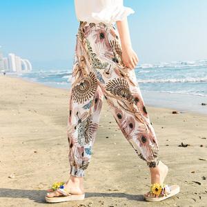 Mùa hè kem chống nắng bãi biển quần kích thước lớn lỏng nhân tạo bông lụa hậu cung quần phụ nữ đèn lồng quần cà rốt quần bông quần